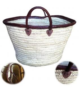 Palmetto Basket - alças de couro e Acabamento - Artesão - 3 Tama
