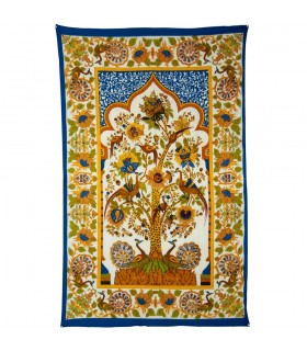 Fabric cotton India-tree of life frame - hand crafted-210 x 140 cm