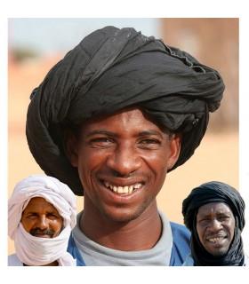 Mauritanien Turban - Coton - 2 couleurs - 3 m - Turban arabe