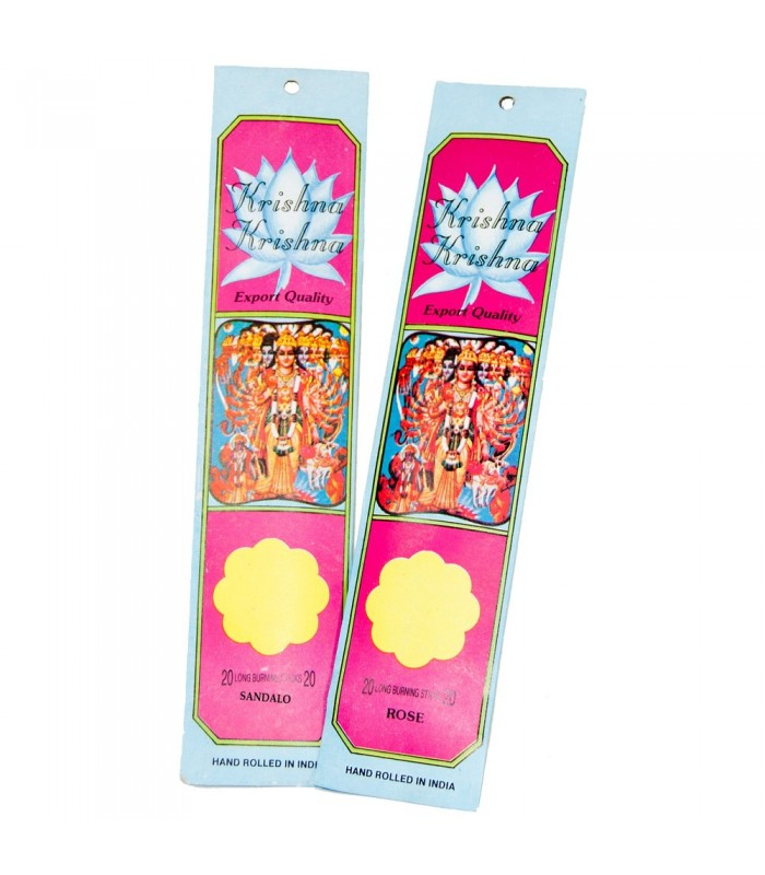 Pack 2 Paquetes Inciensos Krishna -Rosa y Sandalo -40 Varillas