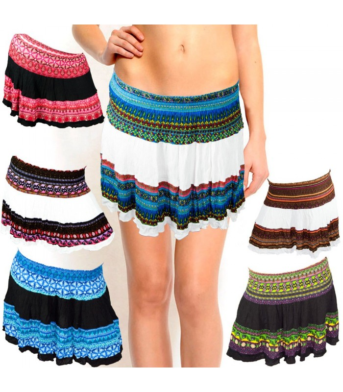 Stamped Silk Summer Skirt-Several Colors-Light, One Size