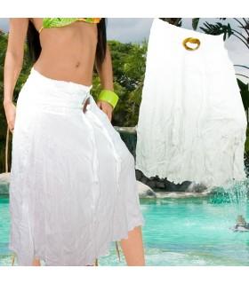 Falda Algodón  - Blanco Verano - Cinturón Coco - Talla Unica