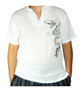 Camisa Blanca Algodón - Diseño Dragón  - Varias Tallas