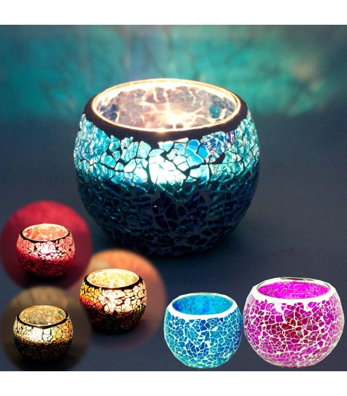 Crackle Mosaic Candle - Various Colors - 2 Sizes