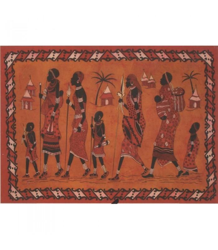 Tela Algodon India-Familia Tribu Africana-Artesana-140 x 210 cm