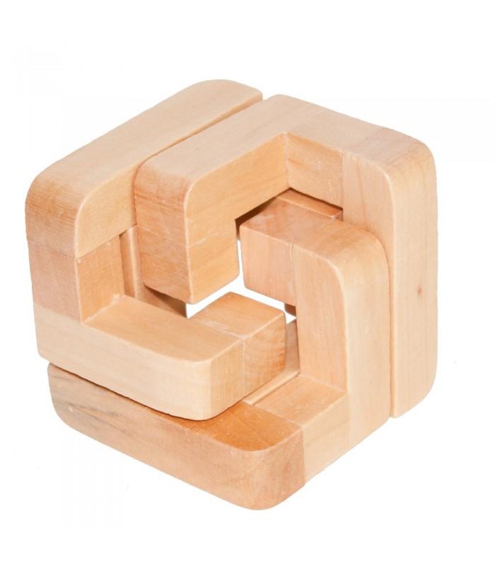 Juego Medio Cubo -Madera- Ingenio - Rompecabezas - 6 x 6 cm