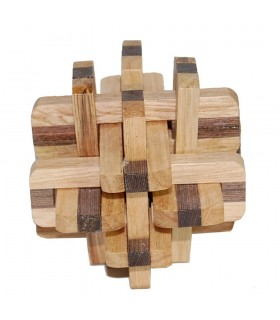 Juego Cubo 2 Colores -Madera Bamboo- Ingenio - Rompecabezas - 8 x 8 cm