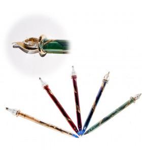 Boligrafo Cristal Artesano - Grabado Floral-Varios Colores 19 cm
