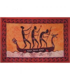 Tecido de algodão da Índia-Tribu Canoa-Artesanato-140 x 210