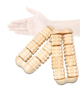 Massager hand rollers - wooden - 10 x 4,5 cm