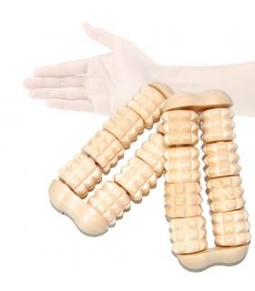 Massaggiatore mano rulli - legno - 10 x 4,5 cm