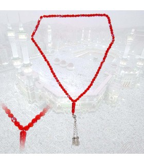 Tasbih red 99 balls - ideal size for travel - 35 cm