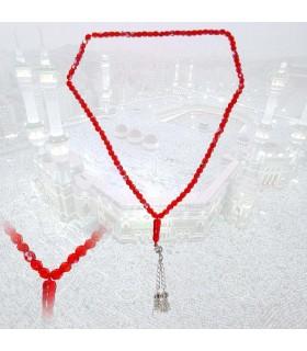 Tasbih 99 rosso palle - dimensione ideale per i viaggi - 35 cm