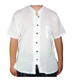 Camicia bianca di cotone - pulsanti di fila - varie dimensioni
