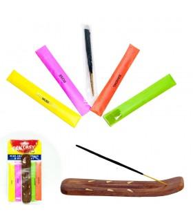 Incensário Pacote Mini + 20 Rods - 4 Odores - Presente Ideal
