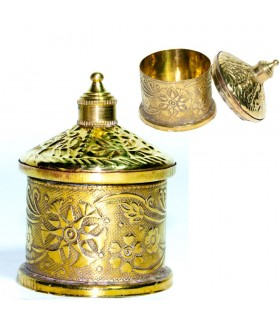 Bronze Box - Engraved Floral Reliefs - 6 cm