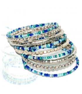 Silver and turquoise bracelet - Flexible - 6 cm
