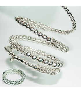 Brazalete Perlas Plateadas - Flexible - 6 cm