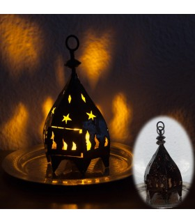 Mini Hexagonal Iron Lantern for candle - Forging Calada - 19 cm