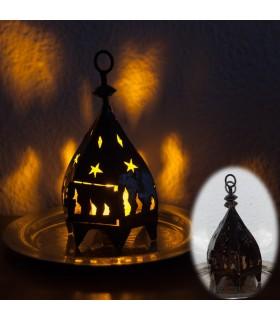Mini lanterne de fer hexagonal pour bougie -Forgeage Calada-19cm