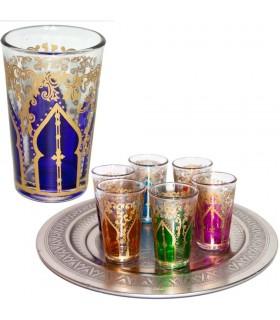 Juego 6 Vasos Arabes - Mano de Fátima - Multicolor - Modelo 1