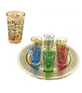 Juego 6 Vasos Té Grabados Completo-Relieve Diseño Floral Henna