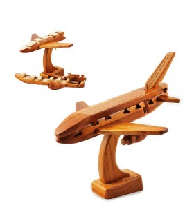 Puzzle wooden plane - wit - 17 cm - quality
