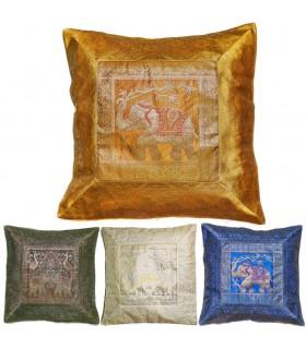 Funda Cojín Seda Animales Sagrados 45cm-Varios Colores-Diseño Oriental