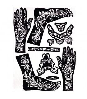 Schablone tattoos Henna - Füße und Hände - 1 Einzelzimmer