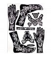 Henna Tattoos Adhesive Template - Feet and Hands - 1 Use Only