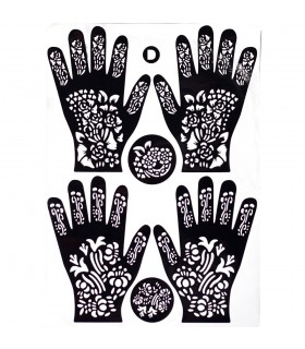 Adhesive template tattoos Henna - feet and hands - 1 single use