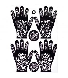 Plantilla Adhesiva Tatuajes Henna - Pies y Manos - 1 Solo Uso