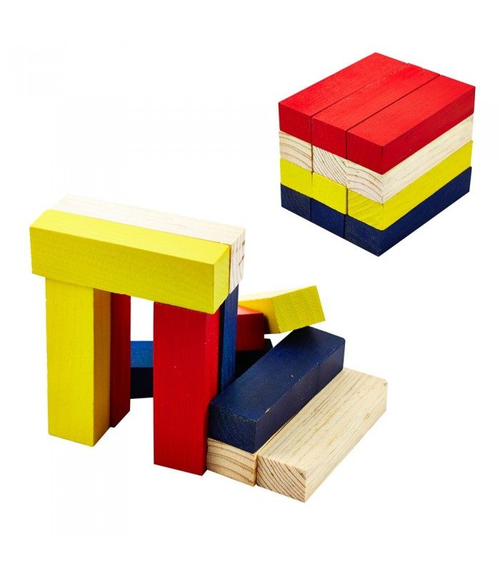 Wood Blocks Set - Multicolor - 12 Pieces - Mount Figures