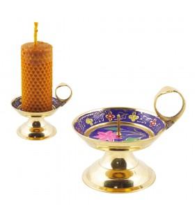 Candela supporto anello bronzo - design floreale - 8 cm-Calidad