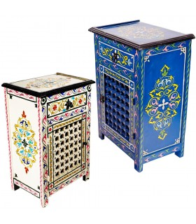 Lattice Andalusian night table hand - painted various colors