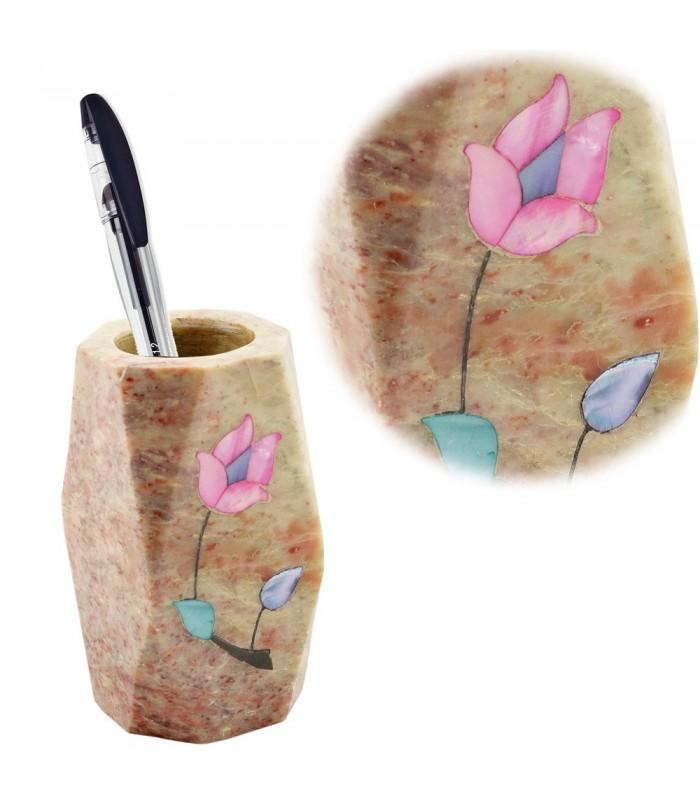 Lapicero de Onix Ovalado - Flor Calada - Mosaico Calado - 10 cm