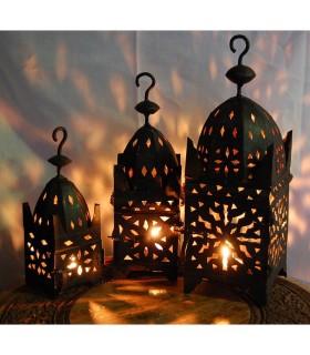 Lanterna quadrata di ferro candela - 3 dimensioni - novità