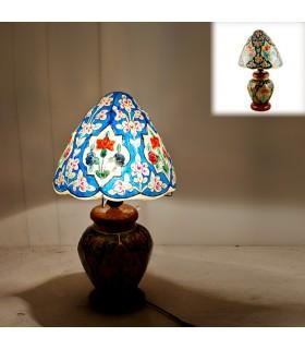 Lámpara Floral - Piel Camello - Mesita de Noche - 2 Tamaños