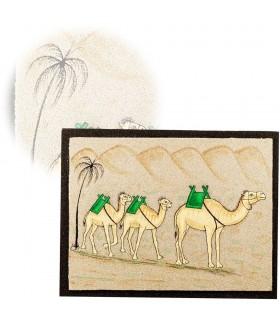 Cuadro Arena 3 Camellos - 2 Tamaños - Realizado Artesanalmente