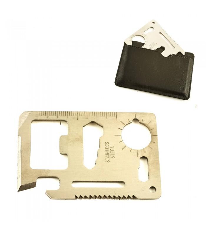 Tarjeta Acero Multiusos - 11 Utilidades - Supervicencia - 7 cm