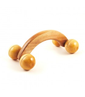 Massager arch wheel spheres - wood - 16 x 7 cm