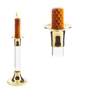 Candela titolare bronzo e cristallo - allungata - 17 cm