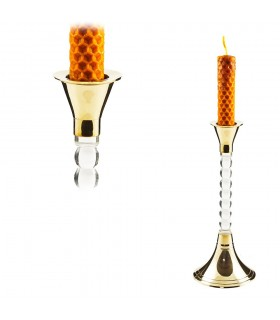Bronze and Crystal Candle Holders - Oblong - 18 cm