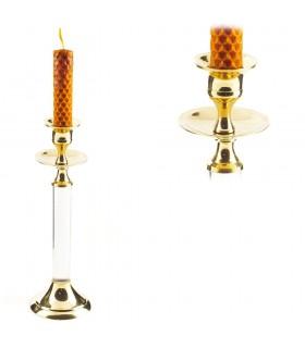 Candela titolare bronzo e cristallo - allungata - 20 cm