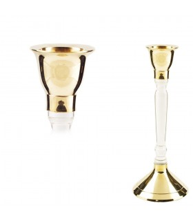 Bronze and Crystal Candle Holders - Oblong - 20 cm