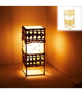 Lámpara Rectángular - Madera Tela Fibra - 30 x 13 cm
