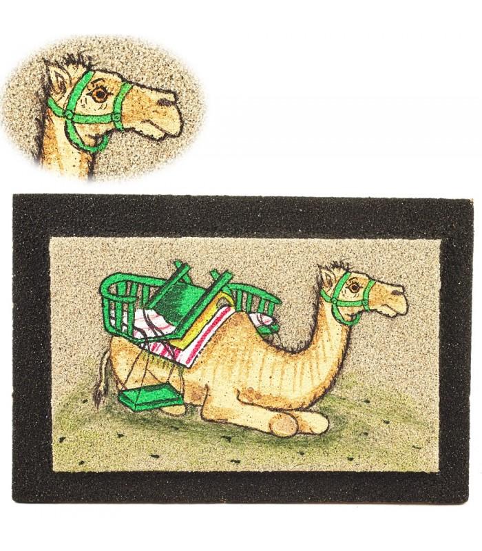 Cuadro Arena Camello Sentado - Realizado Artesanalmente - 15 cm