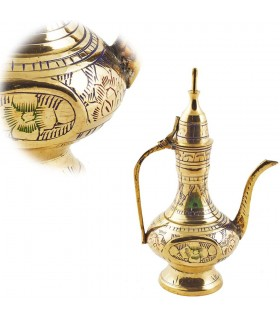 Decorative teapot brass engraved-design Multicolor Floral-15 cm