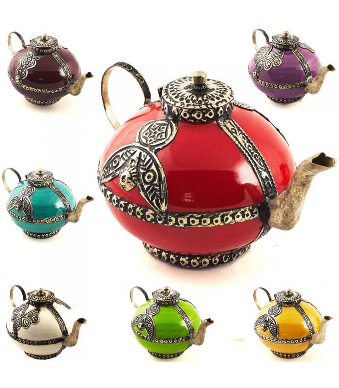 Tetera Decorativa Cerámica y Alpaca - Varios Colores - 15 cm