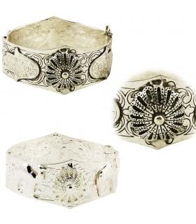 Alpaka hand der Fatima Armband - 2 Oberflächen - filigrane Arabisch